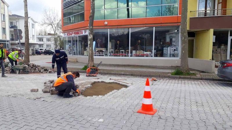 Sokağa çıkma kısıtlamasında kaldırımlar onarıldı
