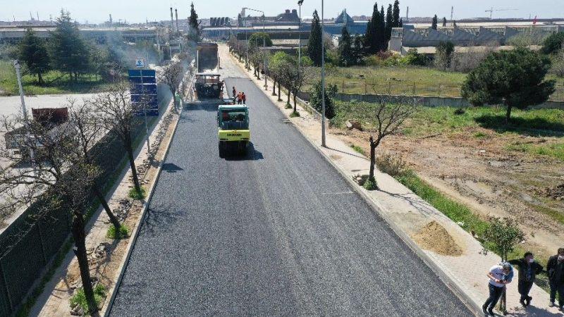 Gebze Ankara Caddesi'nde üstyapı çalışması