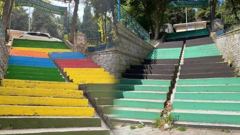 İzmit Belediyesi rengarenk boyadı: Mahalleliler Yeşil Siyah yaptı