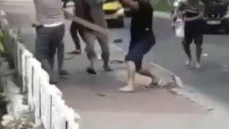Şehir merkezinde piknik tüplü meydan muharebesi gibi kavga