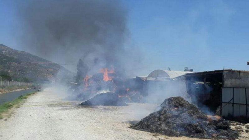 Besi damında 30 ton saman yandı