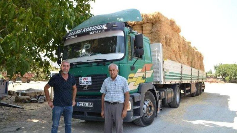 Söke'den Manavgat'a 2 tır saman yola çıktı