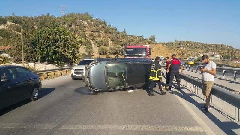 Araç takla attı 2 yaralı
