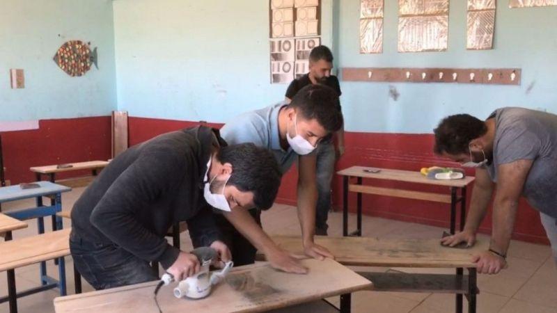 Van'da fedakar öğretmenler okulu eğitime hazırlıyor