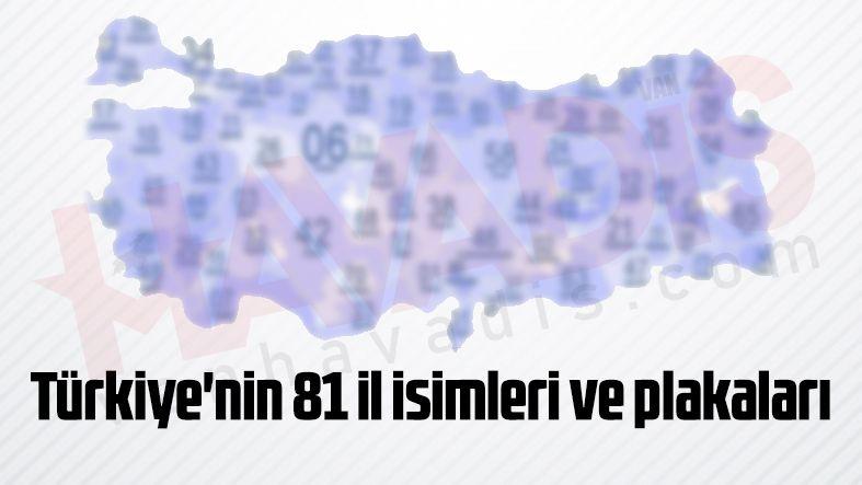 Türkiye'nin 81 il isimleri ve plakaları