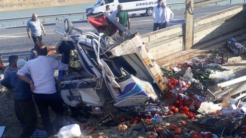 Van'da sebze yüklü kamyonet yoldan çıktı: 2 yaralı