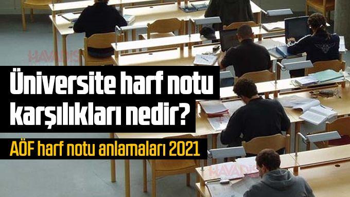 Üniversite harf notu karşılıkları nedir? AÖF harf notu anlamaları 2021
