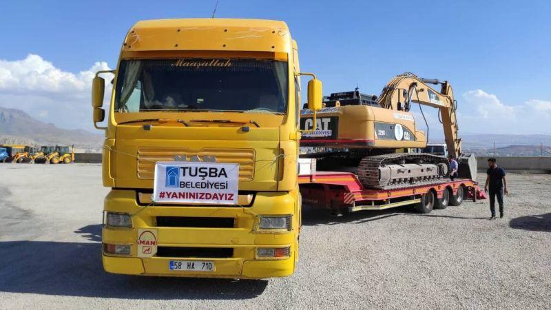 Tuşba Belediyesinden yangın bölgesine araç ve personel desteği