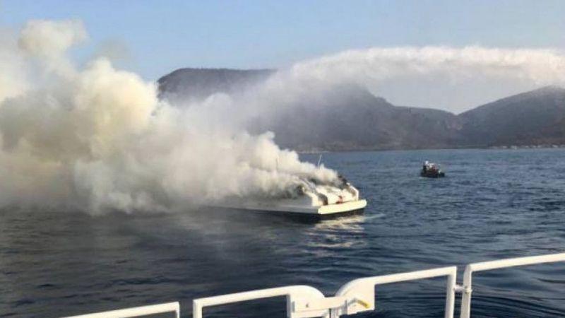 Bodrum'da tekne yangını! 5 kişi kurtarıldı