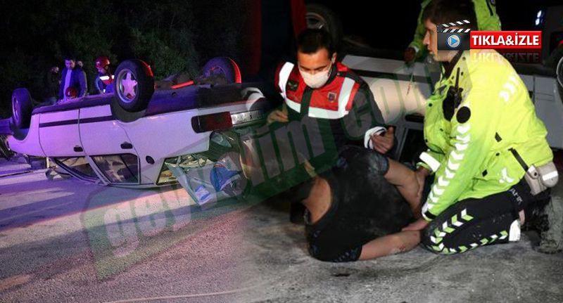 Geyve Karaçam kara yolunda kaza yapıp takla attı! Kendini kurtaran ekiplere saldırdı!