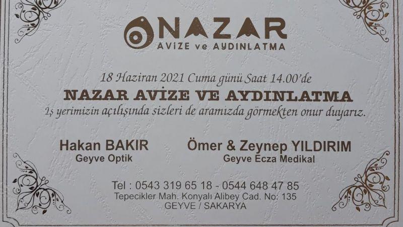 Geyve'de Nazar Avize Açılıyor