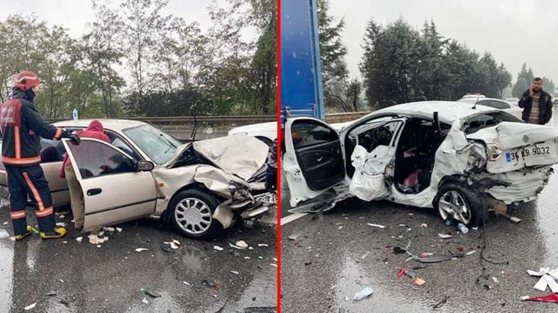 TEM'de 21 aracın karıştığı zincirleme kazada 17 kişi yaralandı!
