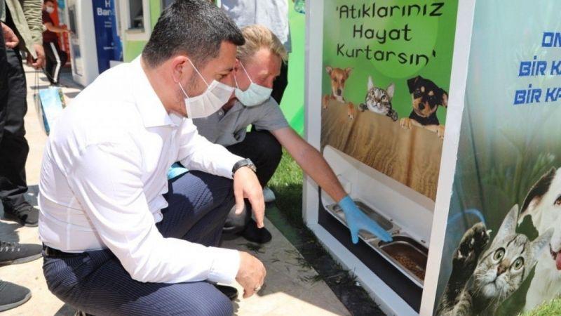 Belediyeden sokak hayvanlarını besleyen otomat