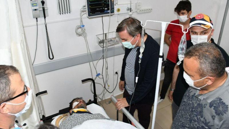 Vali Aydoğdu yaralanan işçileri ziyaret etti