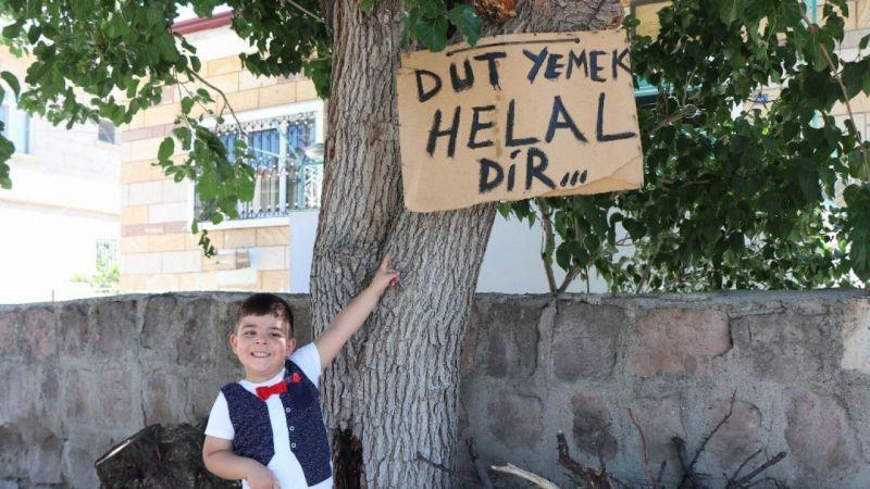 Ağaçtaki dutlar için vatandaşlara not bıraktı