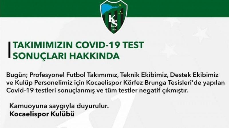Kocaelispor'da koronavirüs testleri negatif
