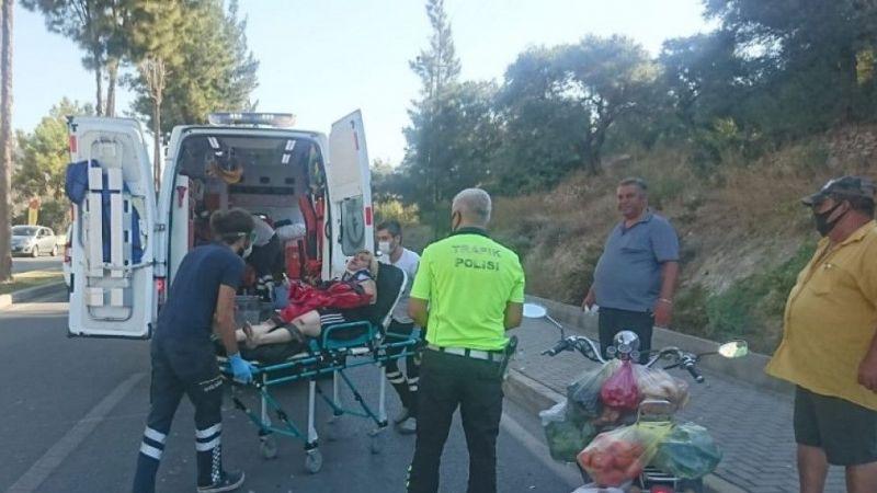 Çalıntı motosikletle bayan sürücü kaza yaptı