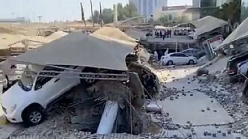 Suudi Arabistan'da otopark çöktü: Yaralılar var