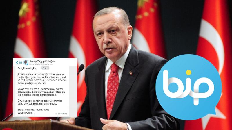 """Cumhurbaşkanı Erdoğan'dan BİP paylaşımı """"Siber vatana sahip çıkmakta kararlıyız"""""""