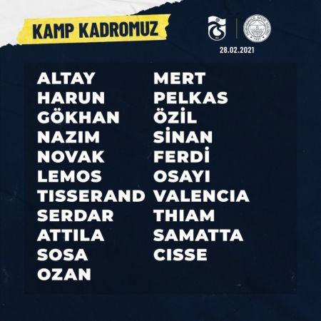 Fenerbahçe'de Trabzonspor maçının kamp kadrosu açıklandı | Spor Haber