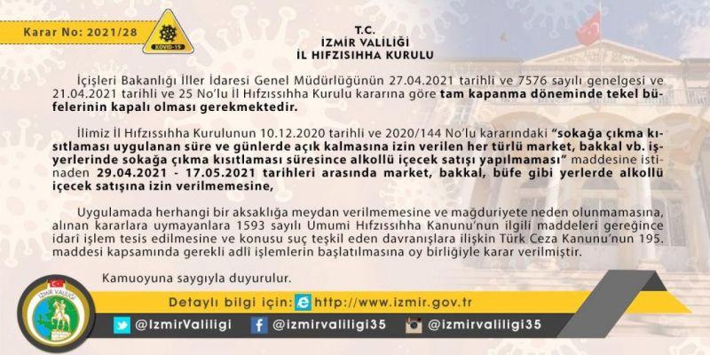 İzmir Valiliğinden 'alkol satışına' yönelik uyarı | Son Dakika