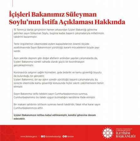 Başkan Erdoğan, İçişleri Bakanı Süleyman Soylu'nun istifasını kabul etmedi .
