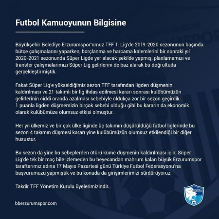 BB Erzurumspor küme düşmenin kaldırılması için TFF'ye başvuruda bulundu