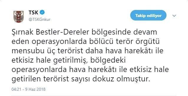 """TSK: """"Şırnak'ta etkisiz hale getirilen terörist sayısı 9'a ulaştı"""""""