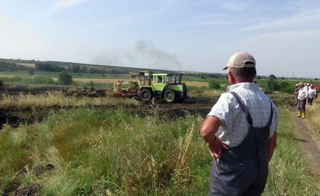 Buğdayları yanarak kül oldu