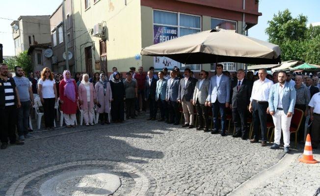 Bayramiç'te onarımı tamamlanan Taşköprü Camii ibadete açıldı