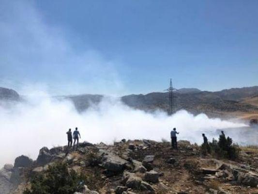 Nurhak'ta çöp yangını helikopter ile söndürüldü