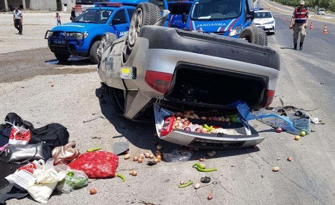 Kahramanmaraş'ta otomobil takla attı. 1 ölü, 2 yaralı