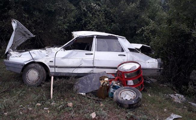 Andırın'da kontrolden çıkan araç şarampolden yuvarlandı
