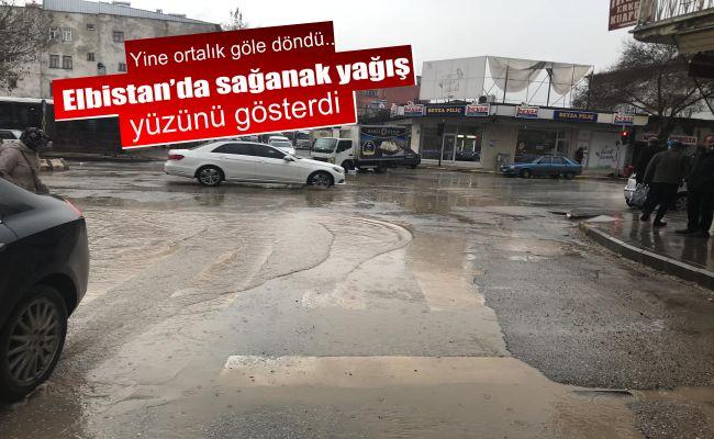 Sağnak yağmur Elbistan'ı göle çevirdi