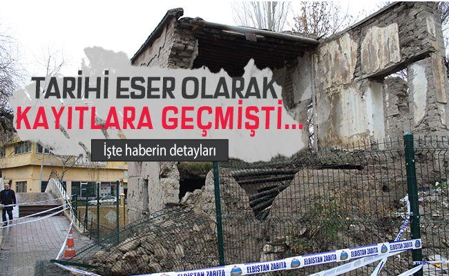 Elbistan'da kerpiç ev çöktü