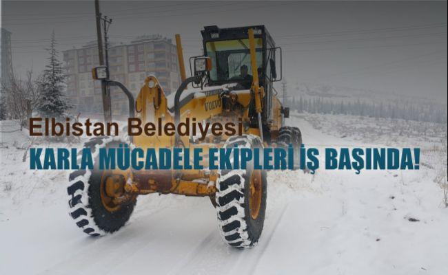 Elbistan belediyesi kar mesaisinde