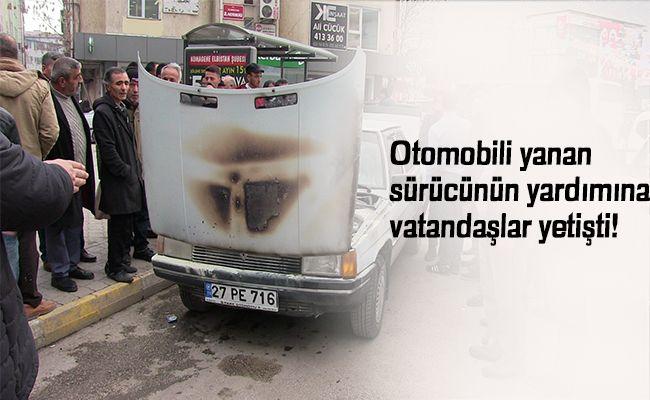 Elbistan'da park halindeki otomobilde yangın
