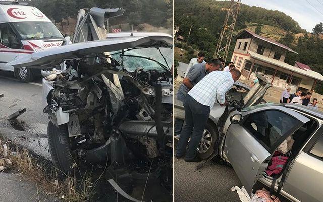 Otomobil bariyerlere çarptı: 1'i polis 4 yaralı