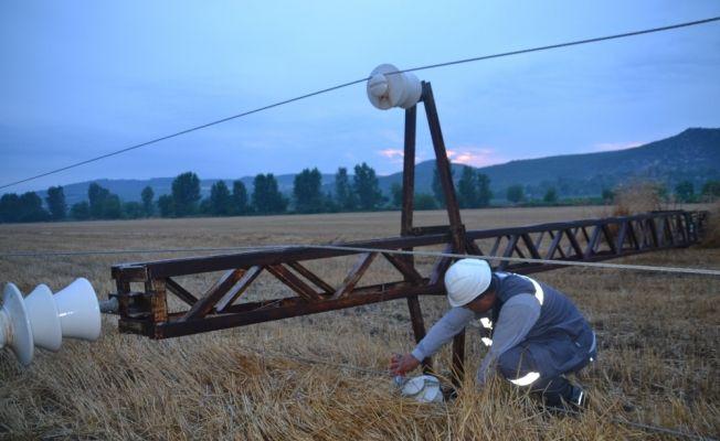 Andırın'a yıldırım düştü: Elektrik direkleri devrildi, 22 keçi telef oldu