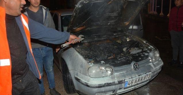 Elbistan'da ki otomobil yangını kameralara yansıdı