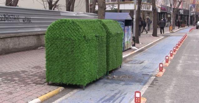 Elbistan'da çöp konteynerleri yeşile büründürüldü