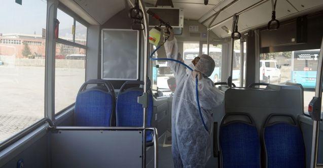 Büyükşehir Belediyesi toplu taşıma araçlarını dezenfekte etti
