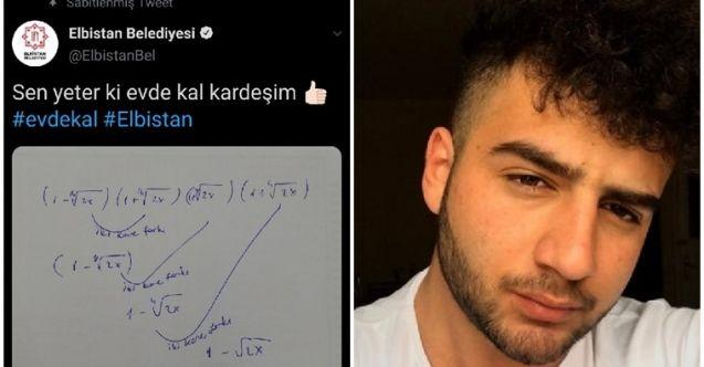 """Öğrencinin çözemediği soruyu Elbistan Belediyesi cevapladı... """"Sen yeter ki evde kal kardeşim"""""""