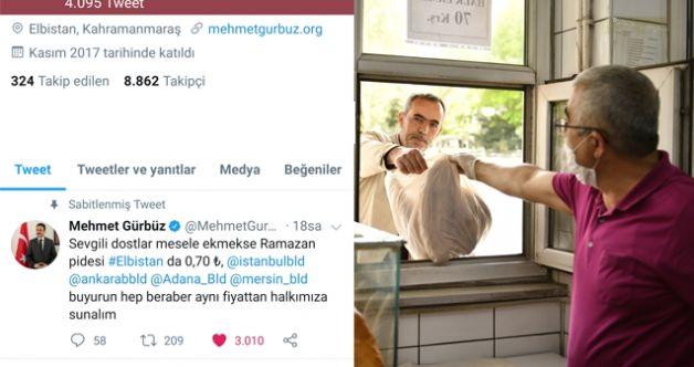 Başkan Gürbüz'ün ramazan pidesi paylaşımı, trend topic lİstesinde
