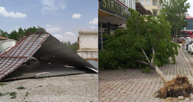 Elbistan'da şiddetli fırtına! Çatılar uçtu, ağaçlar devrildi