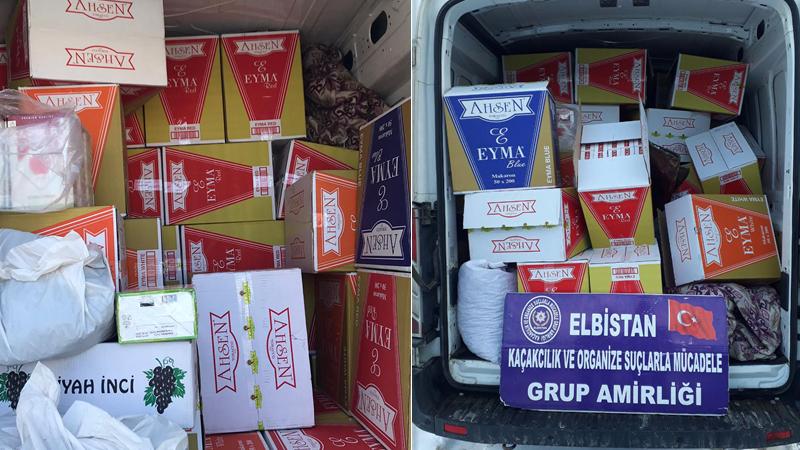 Elbistan'da KOM affetmedi: 750 bin adet kaçak makaron ve çay ele geçirildi