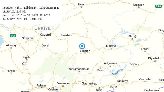 Elbistan'da gece yarısı 2 büyüklüğünde deprem oldu