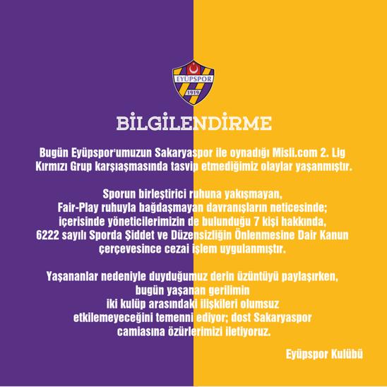 """Eyüpspor: """"Sakaryaspor camiasına özürlerimizi iletiyoruz"""""""