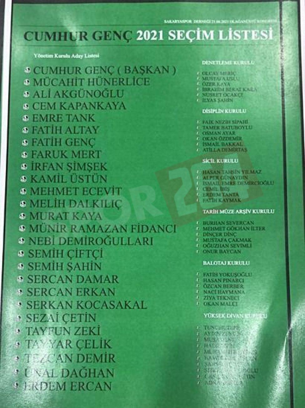 İşte Cumhur Genç'in yönetim listesi