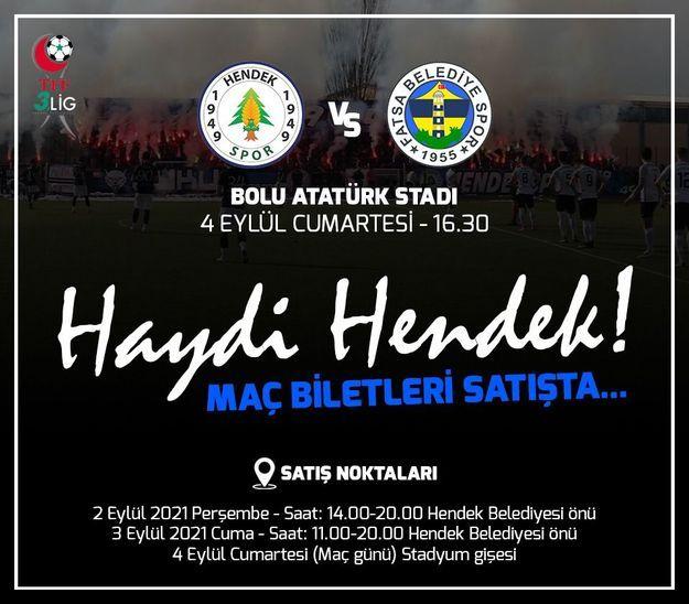 Hendekspor'un ilk maçının bilet fiyatları belli oldu